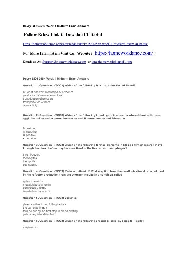 Devry bios255 n week 4 midterm exam answers