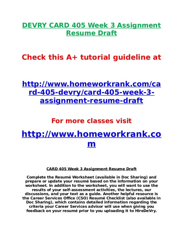 devry card 405 week 3 assignment resume draft check this a tutorial guideline at http