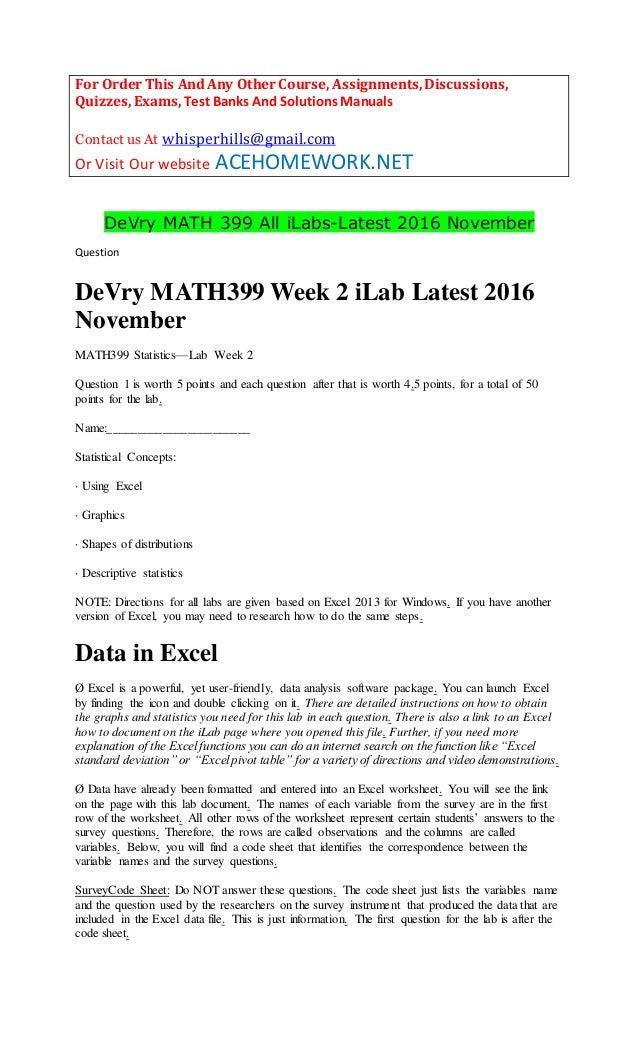 De Vry Math 399 All Ilabs Latest 2016 November