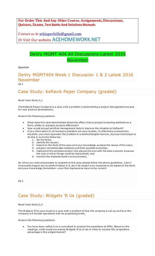 keflavik paper company case study answers