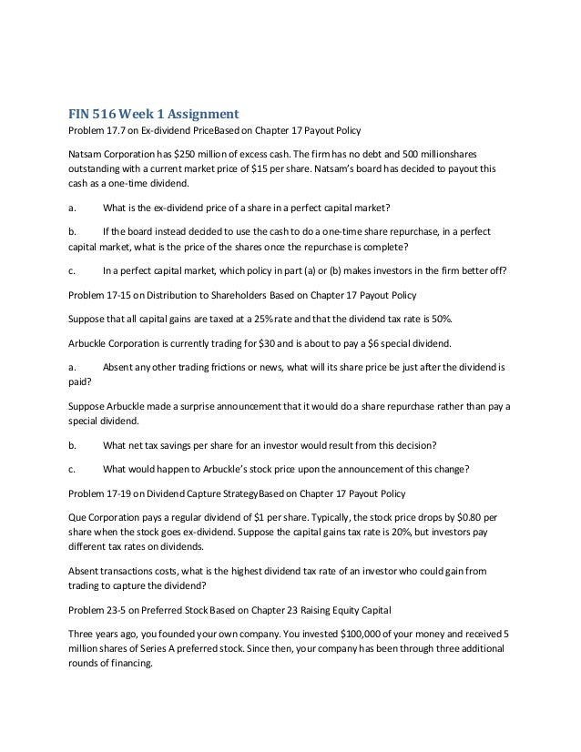 fin 516 week 1 homework assignment Free essays on fin 516 week 2 mini case assignment for students use our papers to help you with yours 1 - 30  fin 516 week 2 fin – 516 – week 2 homework .