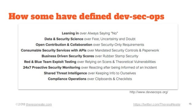 ©2018 theresaneate.com https://twitter.com/TheresaNeate How some have defined dev-sec-ops 15 http://www.devsecops.org/