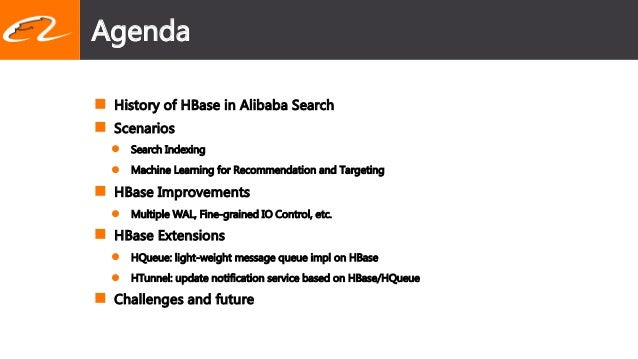 Improvements to Apache HBase and Its Applications in Alibaba Search  Slide 2