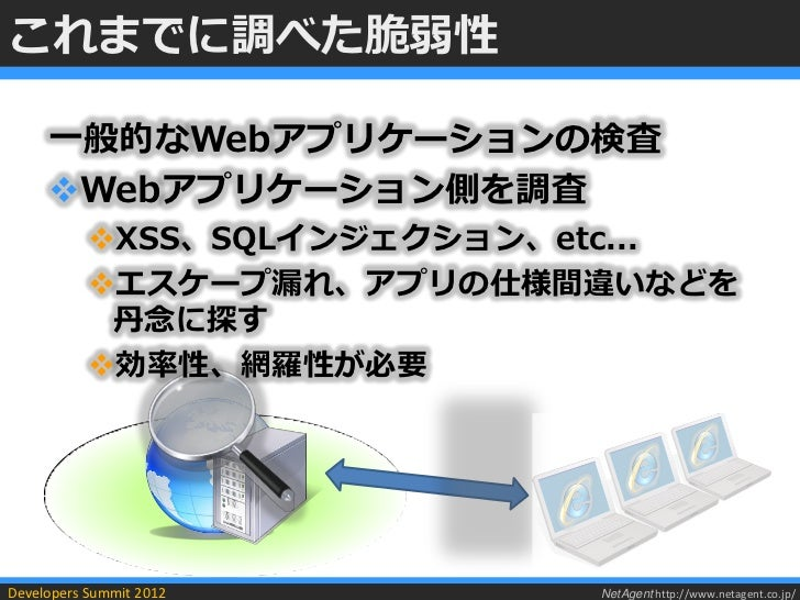 これまでに調べた脆弱性     一般的なWebアプリケーションの検査     Webアプリケーション側を調査           XSS、SQLインジェクション、etc...           エスケープ漏れ、アプリの仕様間違いなどを ...