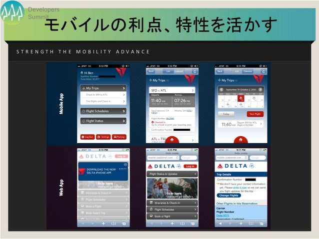 Developers     Summit             モバイルの利点、特性を活かすS T R E N G T H   T H E   M O B I L I T Y   A D V A N C E         ...