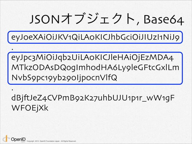 JSONオブジェクト, Base64  eyJ0eXAiOiJKV1QiLA0KICJhbGciOiJIUzI1NiJ9  .  eyJpc3MiOiJqb2UiLA0KICJleHAiOjEzMDA4  MTkzODAsDQogImh0dHA...