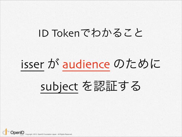 ID Tokenでわかること  isser が audience のために  subject を認証する  Copyright 2013 OpenID Foundation Japan - All Rights Reserved.
