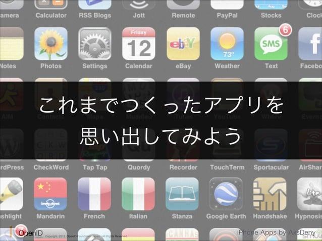 これまでつくったアプリを  思い出してみよう  Copyright 2013 OpenID Foundation Japan - All Rights Reserved. iPhone Apps by AxsDeny