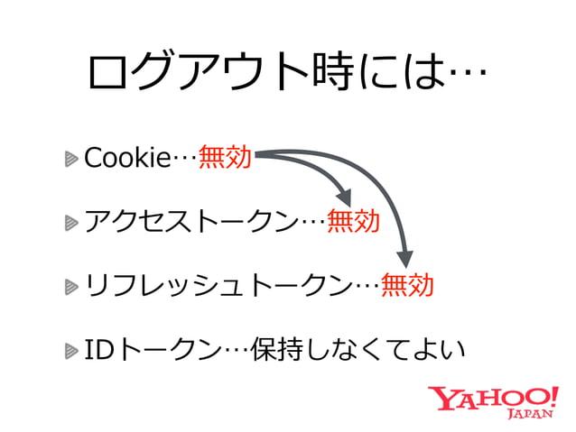 トークンの有効期限切切れ時には… Cookie…有効  アクセストークン…無効→再発⾏行行  リフレッシュトークン…無効→再発⾏行行  IDトークン…保持しなくてよい