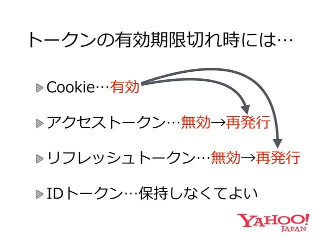 アカウント切切り替え時には… Cookie…別アカウントで発⾏行行  アクセストークン…保持  リフレッシュトークン…保持  IDトークン…保持しなくてよい