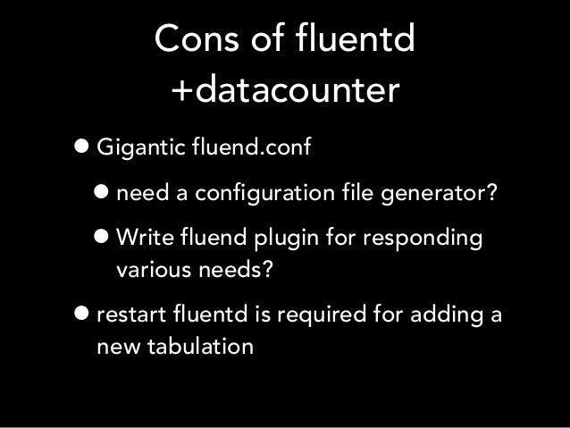 Cons of fluentd +datacounter •Gigantic fluend.conf •need a configuration file generator? •Write fluend plugin for respondi...
