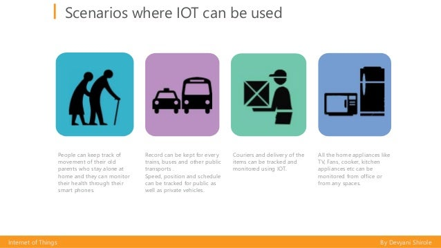 Scenarios where IOT can be used Internet of Things By Devyani Shirole People can keep track of movement of their old paren...