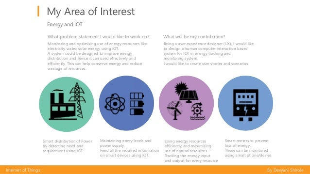 My Area of Interest Internet of Things By Devyani Shirole Energy and IOT Smart distribution of Power by detecting need and...