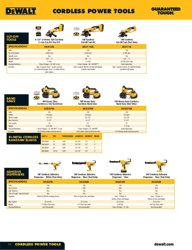 Dewalt Tools Catalog