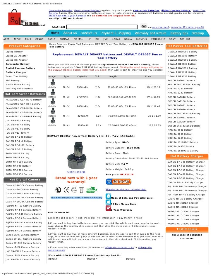 DEWALT DE9057 - DEWALT DE9057 Power Tool Battery                                            Camcorder Batteries, digital c...