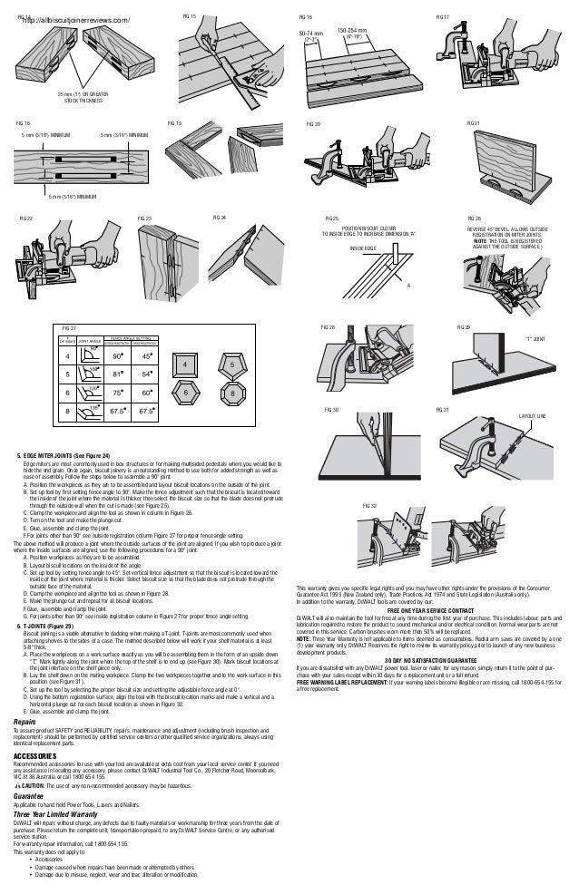 Dewalt dw682 k biscuit joiner- joiner manual