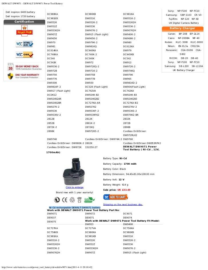 Dewalt Dw9071 Battery Dewalt Dw9071 Power Tool Battery