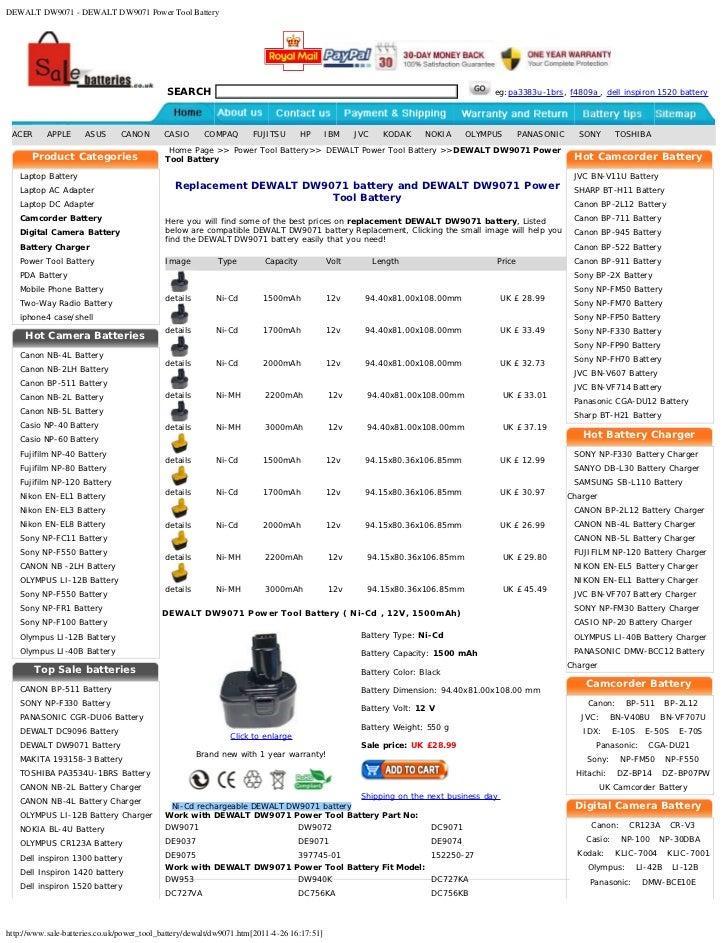 DEWALT DW9071 - DEWALT DW9071 Power Tool Battery                                            SEARCH                        ...