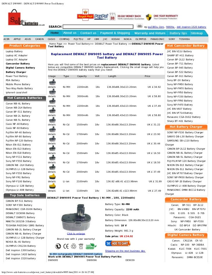 DEWALT DW9095 - DEWALT DW9095 Power Tool Battery                                            SEARCH                        ...