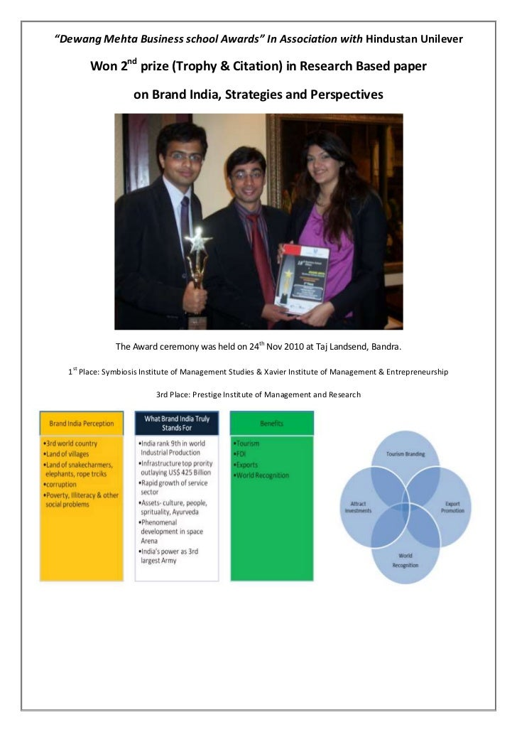 """""""Dewang Mehta Business school Awards"""" In Association with Hindustan Unilever        Won 2nd prize (Trophy & Citation) in R..."""