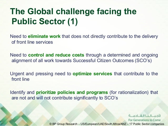 The Global challenge facing thePublic Sector (1)Need to eliminate work that does not directly contribute to the deliveryof...