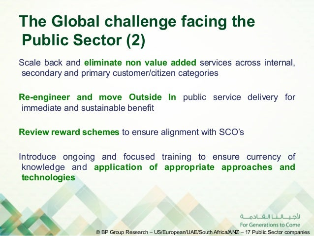 The Global challenge facing thePublic Sector (2)Scale back and eliminate non value added services across internal,secondar...