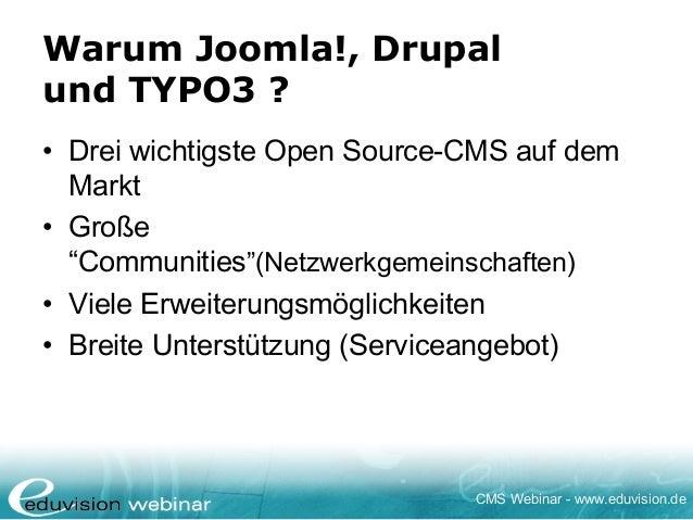 Webinar Joomla!, Drupal & TYPO3 im Vergleich - Eduvision Slide 2
