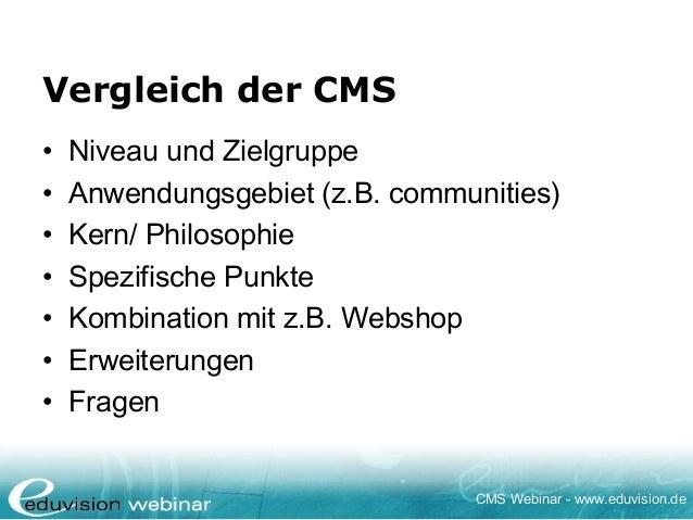 Webinar Joomla!, Drupal & TYPO3 im Vergleich - Eduvision Slide 3