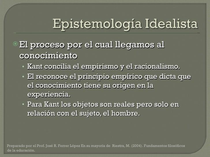 <ul><li>El proceso por el cual llegamos al conocimiento </li></ul><ul><ul><li>Kant concilia el empirismo y el racionalismo...