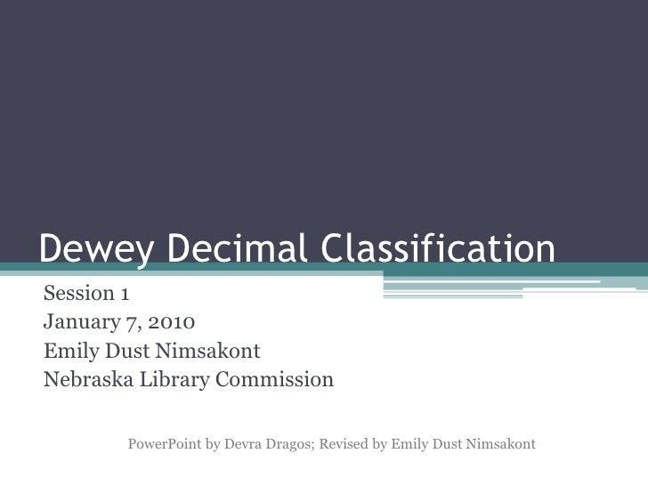 Dewey Decimal Classification Session 1