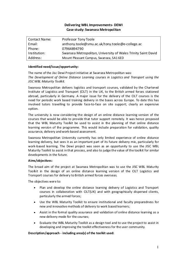 Delivering WBL Improvements- DEWI                            Case study: Swansea MetropolitanContact Name:             Pro...