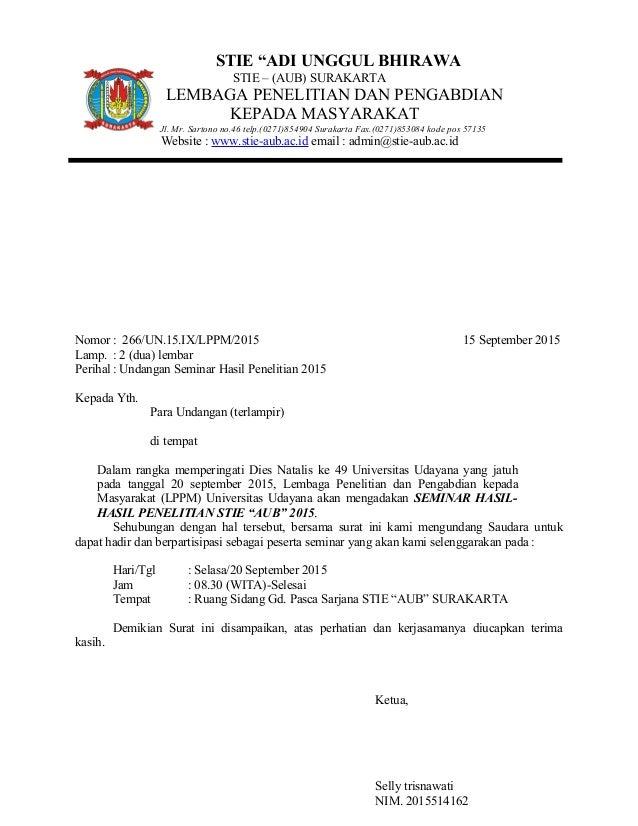 Nomor : 266/UN.15.IX/LPPM/2015 15 September 2015 Lamp. : 2 (dua) lembar Perihal : Undangan Seminar Hasil Penelitian 2015 K...