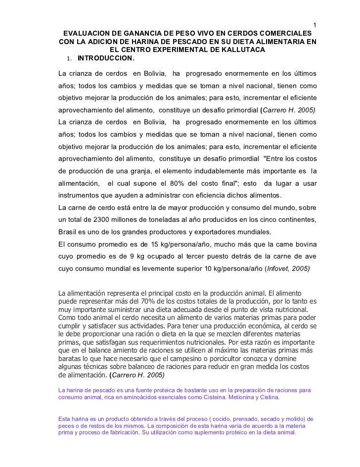 1 EVALUACION DE GANANCIA DE PESO VIVO EN CERDOS COMERCIALESCON LA ADICION DE HARINA DE PESCADO EN SU DIETA ALIMENTARIA EN ...
