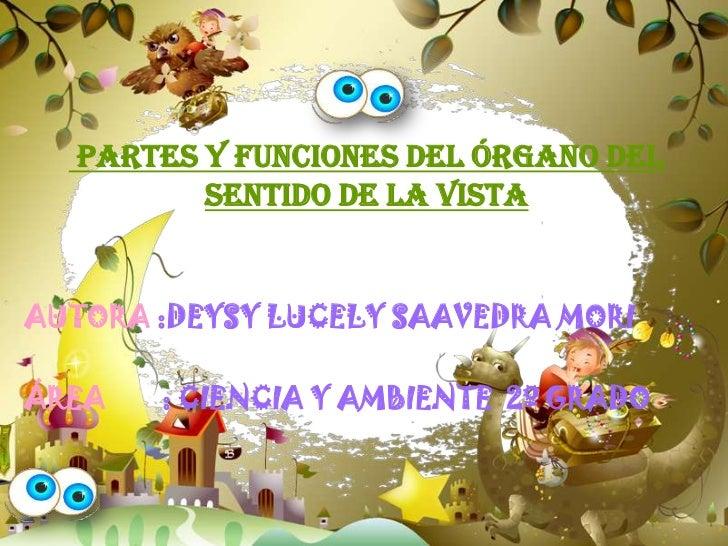 PARTES Y FUNCIONES DEL ÓRGANO DEL         SENTIDO DE LA VISTAAUTORA :DEYSY LUCELY SAAVEDRA MORIÁREA   : CIENCIA Y AMBIENTE...