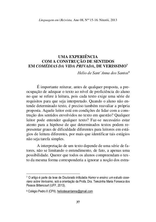Linguagem em (Re)vista, Ano 08, Nos 15-16. Niterói, 2013 37 UMA EXPERIÊNCIA COM A CONSTRUÇÃO DE SENTIDOS EM COMÉDIAS DA VI...