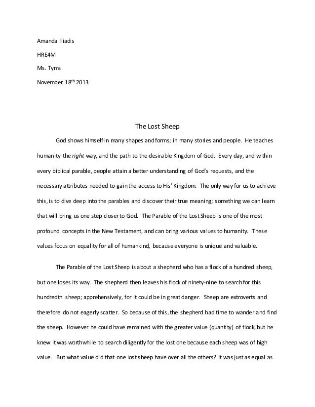 essay on a parable religion grade  amanda iliadis hre4m ms tyms 18th 2013 the lost sheep god shows himself in