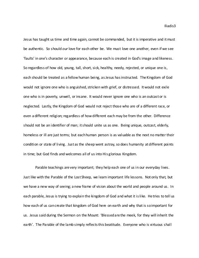 Essay on a parable (religion grade 12)