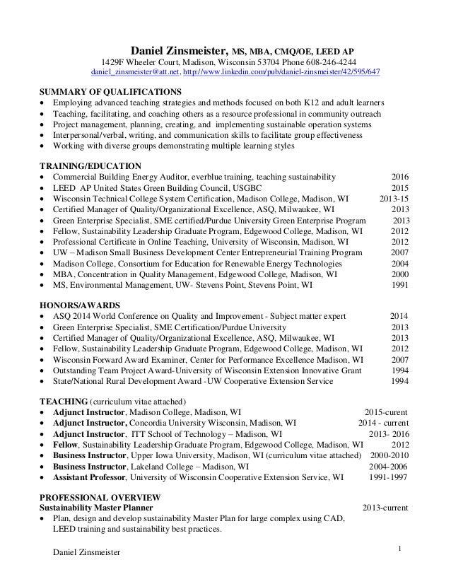 SlideShare  Adjunct Instructor Resume