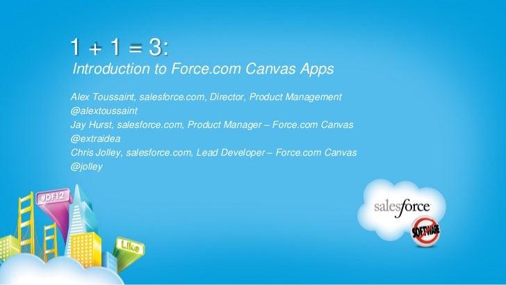 1 + 1 = 3:Introduction to Force.com Canvas AppsAlex Toussaint, salesforce.com, Director, Product Management@alextoussaintJ...