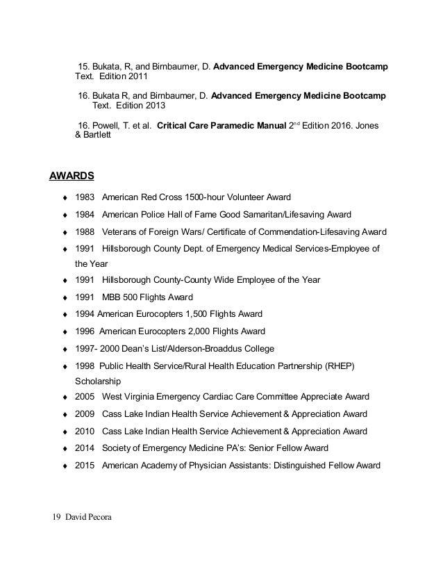 expert textbookmanuscript reviewer continued david pecora18 19 15 certified emt resume - Certified Emt Resume