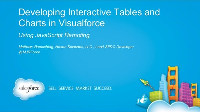 Developing Interactive Tables and Charts in Visualforce Using JavaScript Remoting Matthew Rumschlag, Nexeo Solutions, LLC....