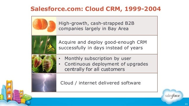 Salesforce.com: Cloud CRM, 1999-2004 High-growth, cash-strapped B2B companies largely in Bay Area Acquire and deploy good-...