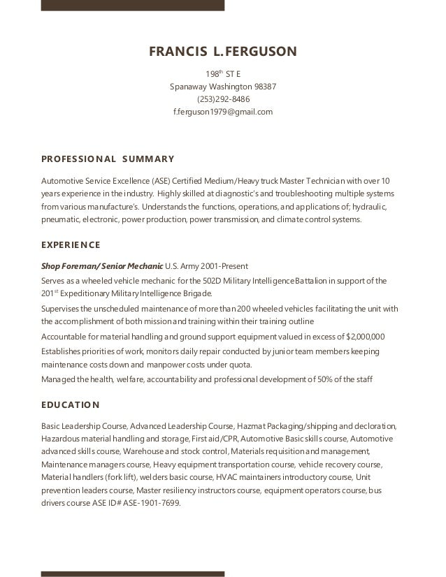Frank Mechanic Resume