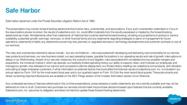 Safe Harbor  Safe harbor statement under the Private Securities Litigation Reform Act of 1995:  This presentation may cont...