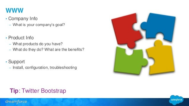 WWW  • Company Info  – What is your company's goal?  • Product Info  – What products do you have?  – What do they do? What...