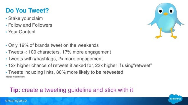 Do You Tweet?  • Stake your claim  • Follow and Followers  • Your Content  • Only 19% of brands tweet on the weekends  • T...