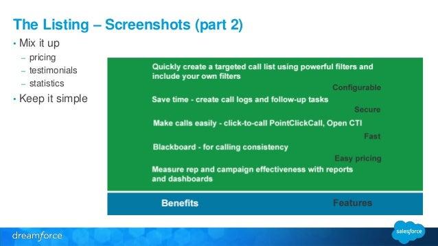 The Listing – Screenshots (part 2)  • Mix it up  – pricing  – testimonials  – statistics  • Keep it simple