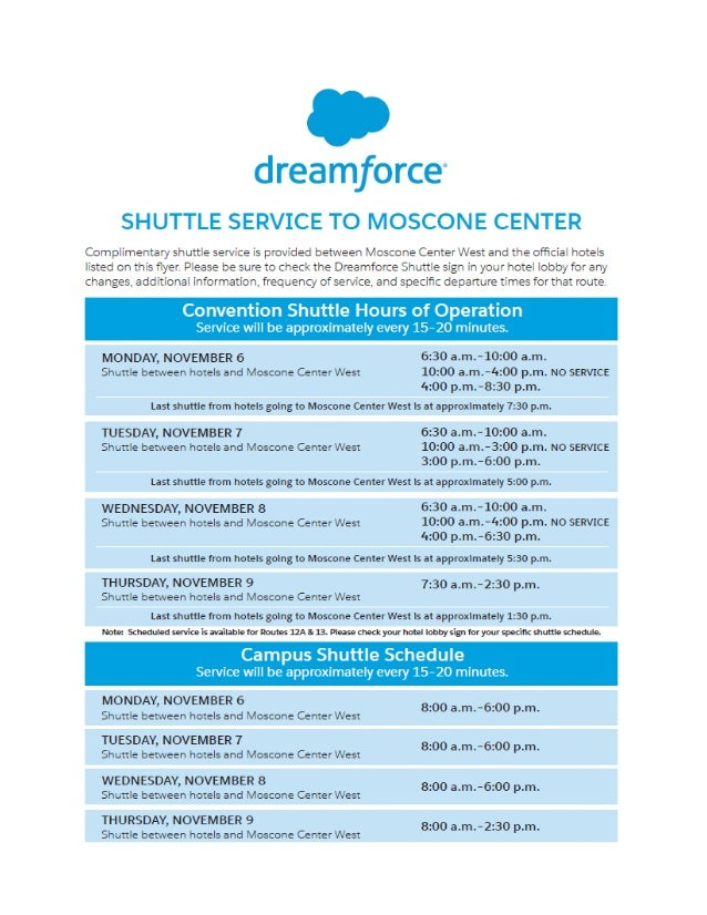 Dreamforce '17 Shuttle Schedule