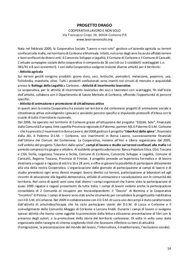 14 PROGETTO DRAGO COOPERATIVA LAVORO E NON SOLO Via Francesco Crispi, 56, 90034 Corleone PA www.lavoroenonsolo.org Nata ne...