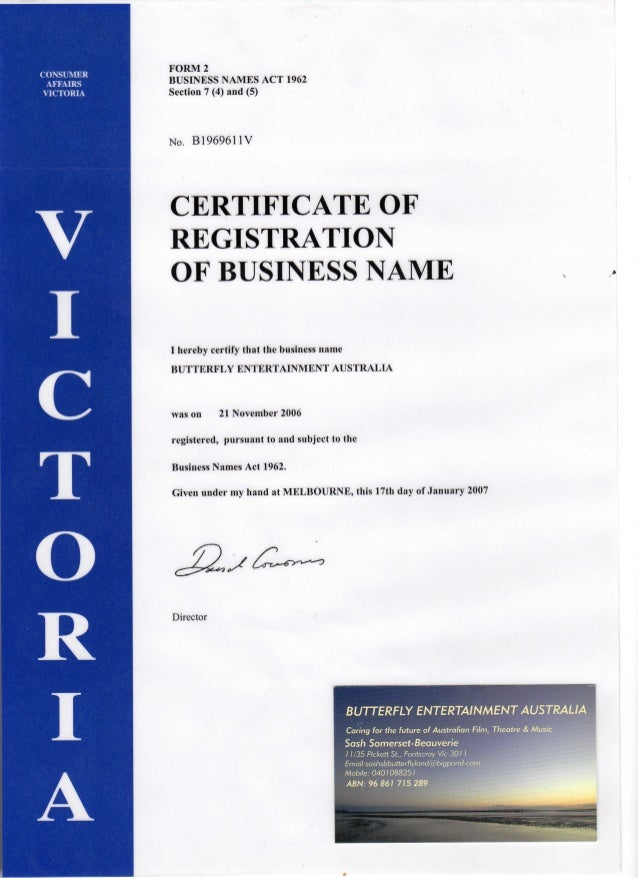My registered business name certificates on my ABN
